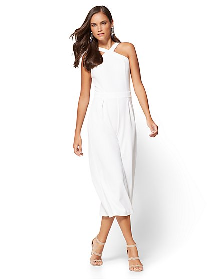 7th Avenue Halter Culotte Jumpsuit - White - New York & Company