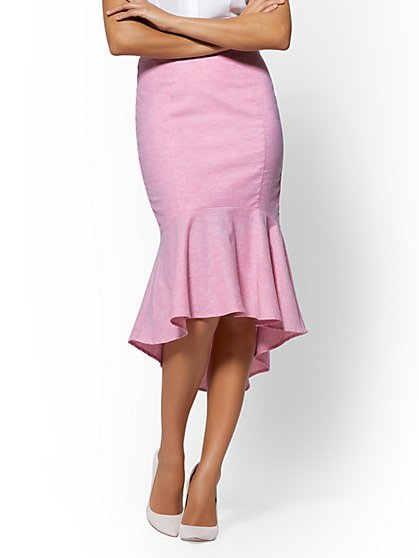 7th Avenue - Hi-Lo Fit & Flare Pencil Skirt - City Stretch Linen Flex - New York & Company