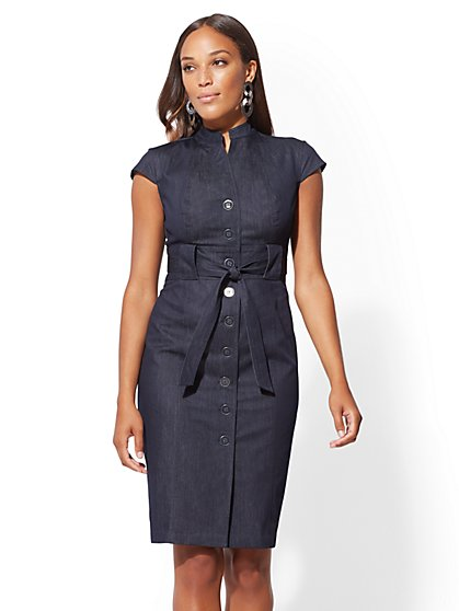 7th Avenue - Indigo Button-Accent Sheath Dress - New York & Company