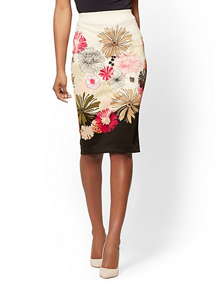 7th Avenue - Ivory Floral Pull-On Pencil Skirt - New York & Company