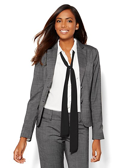 7th Avenue Jacket - Two-Button - Signature - Black Check - New York & Company