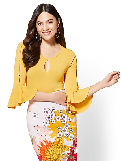 7th Avenue - Keyhole Flounced-Cuff Top - New York & Company