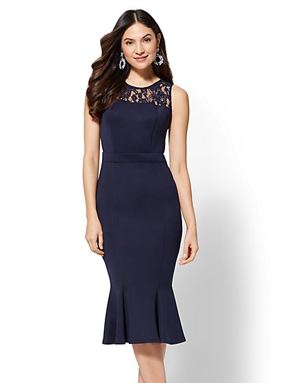 7th Avenue - Lace-Accent Flounced Sheath Dress - New York & Company
