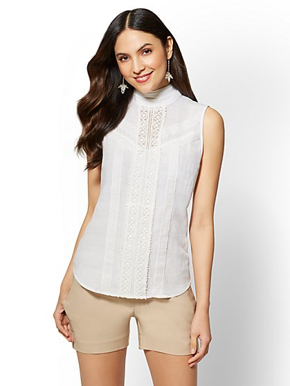 7th Avenue - Lace-Accent Shell - New York & Company