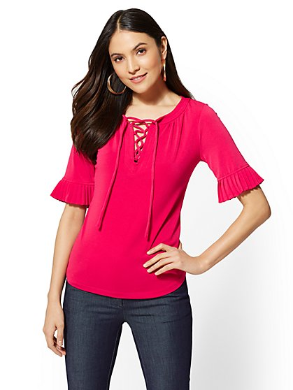 7th Avenue - Lace-Up Pleated Sleeve Tee - New York & Company