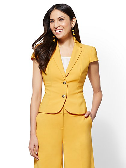 7th Avenue - Lace-Up Two-Button Jacket - All-Season Stretch - New York & Company