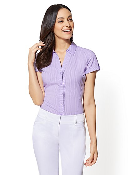 7th Avenue - Lavender Stripe - Short Sleeve - Madison Stretch Shirt - New York & Company