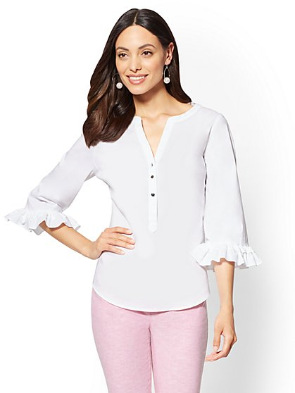 7th Avenue - Madison Ruffled-Sleeve V-Neck Shirt - New York & Company