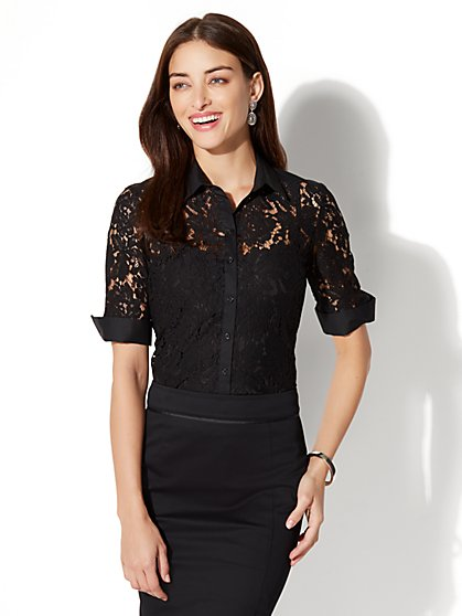 7th Avenue - Madison Stretch Shirt - Lace Panel - New York & Company