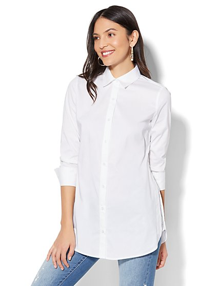 7th Avenue - Madison Stretch Shirt - Side-Vent Tunic Shirt - White - New York & Company
