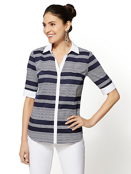 7th Avenue - Madison Stretch Shirt - Stripe - New York & Company
