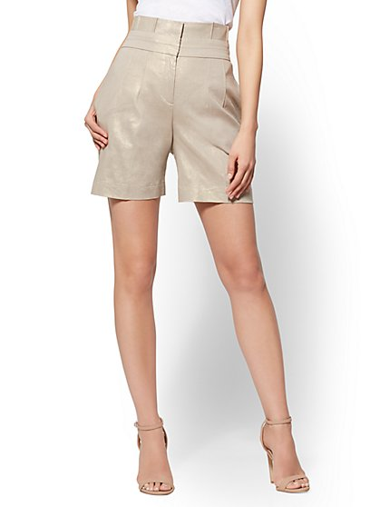 7th Avenue – Metallic Paperbag-Waist Short - Modern - New York & Company