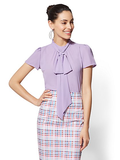 7th Avenue - Mock-Neck Bow Blouse - New York & Company