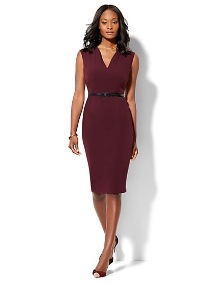 7th Avenue - Modern Fit - Belted Sheath Dress - Burgundy - New York & Company