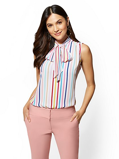 7th Avenue Multicolor Stripe Bow-Detail Blouse - New York & Company