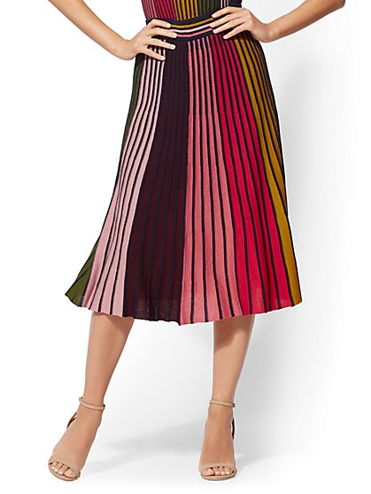 7th Avenue - Multicolor Stripe Pleated Sweater Skirt - New York & Company