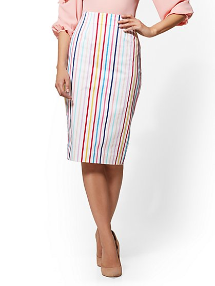 7th Avenue - Multicolor Striped Pencil Skirt - New York & Company