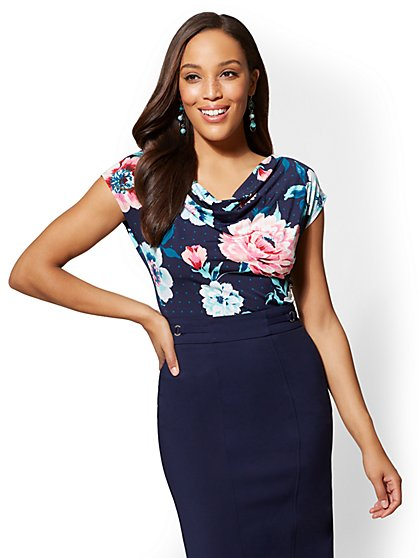 7th Avenue - Navy Floral Draped & Ruched Top - New York & Company