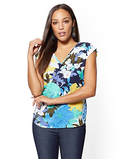 7th Avenue - Navy Floral V-Neck Top - New York & Company