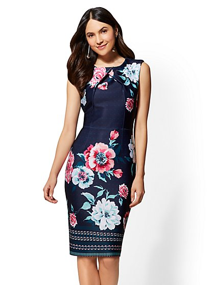 7th Avenue - Navy Printed Crossover Sheath Dress - New York & Company