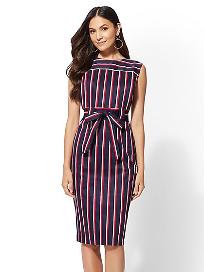 7th Avenue - Navy Stripe Sheath Dress - New York & Company