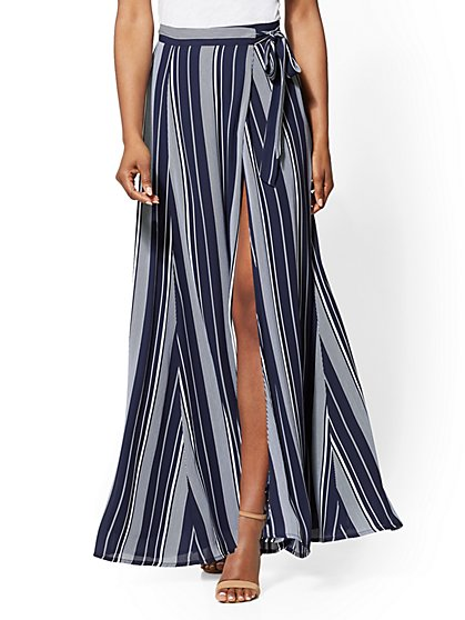 7th Avenue - Navy Stripe Wrap Maxi Skirt - New York & Company