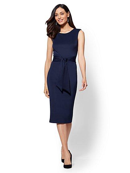 7th Avenue - Navy Tie-Front Sheath Dress - New York & Company