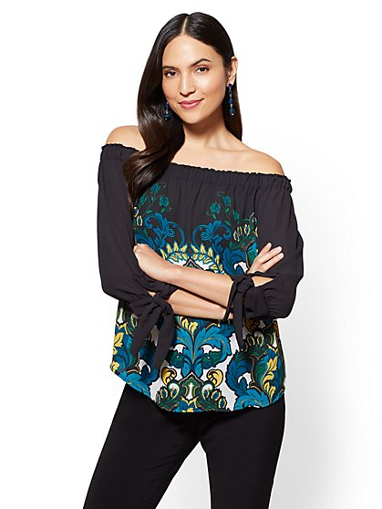7th Avenue - Off-The-Shoulder Blouse - Scroll Print - New York & Company
