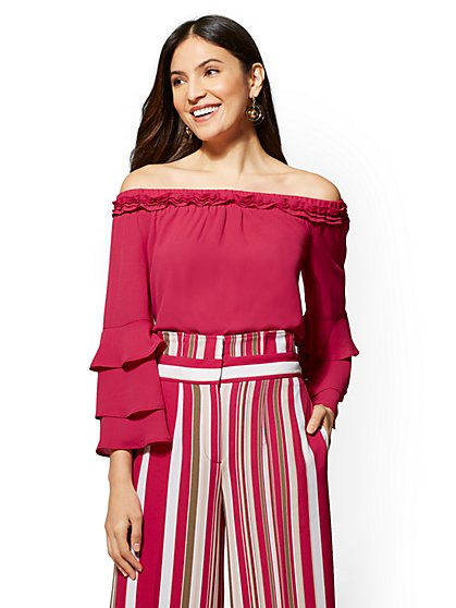 7th Avenue - Off-The-Shoulder Ruffled Blouse - New York & Company