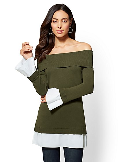 7th Avenue Olive Off-The-Shoulder Twofer Sweater - New York & Company