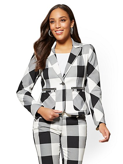 7th Avenue - One-Button-Jacket - Gingham - New York & Company