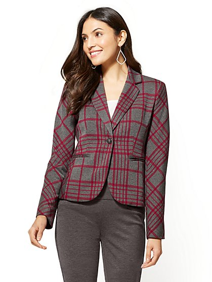 7th Avenue - One-Button Jacket - Red & Grey Plaid - New York & Company