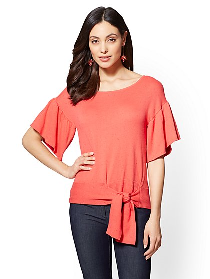 7th Avenue - Orange Flounced Knit Sweater - New York & Company