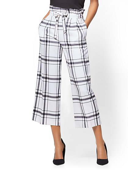 7th Avenue Pant - Belted Culotte - Plaid - New York & Company