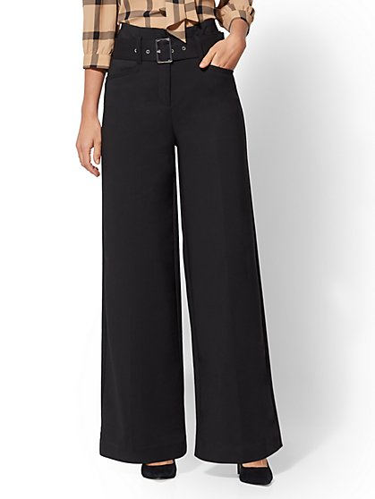 7th Avenue Pant - Belted Wide Leg - All-Season Stretch - New York & Company