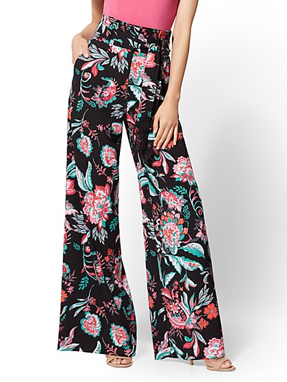 7th Avenue Pant - Black Floral Palazzo - New York & Company