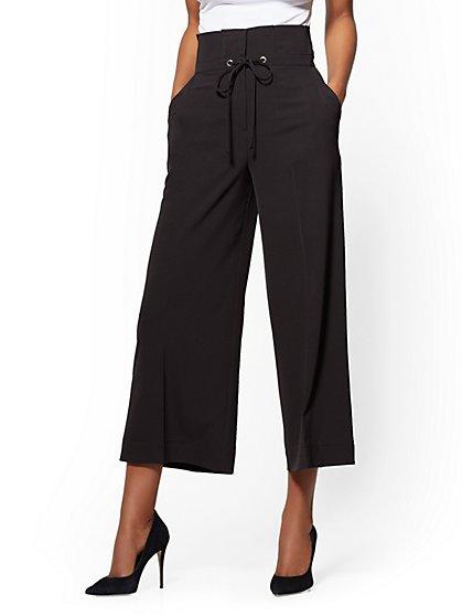 7th Avenue Pant - Black Paperbag-Waist Culotte - New York & Company
