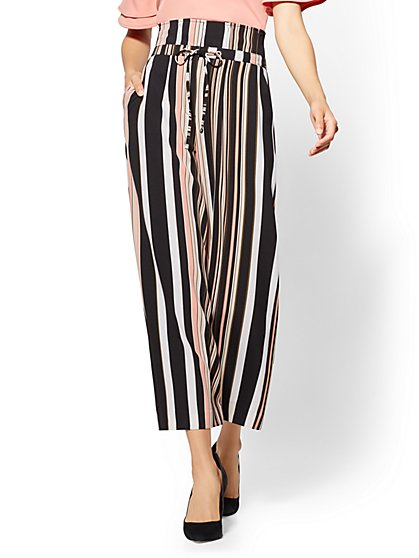 7th Avenue Pant - Black Stripe Paperbag-Waist Culotte - New York & Company