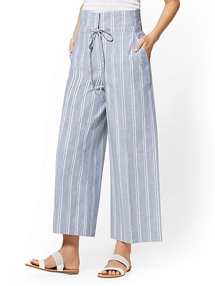 7th Avenue Pant - Blue Stripe Paperbag-Waist Culotte - New York & Company