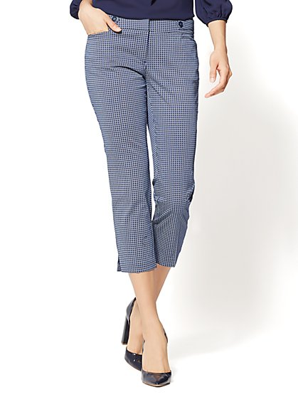 7th Avenue Pant - Crop Straight Leg - Modern - Navy - Daisy Print - New York & Company