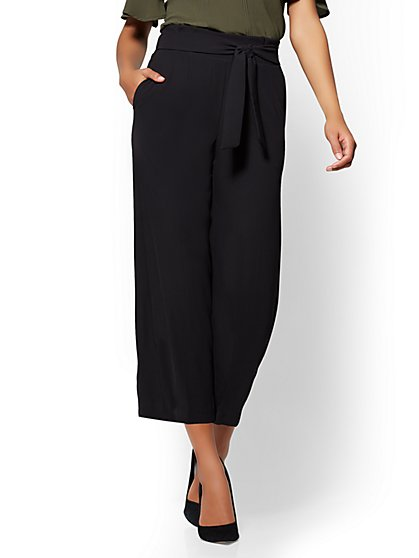 7th Avenue Pant - Crop Wide Leg - Black - New York & Company
