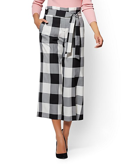 7th Avenue Pant - Crop Wide Leg - Gingham - New York & Company