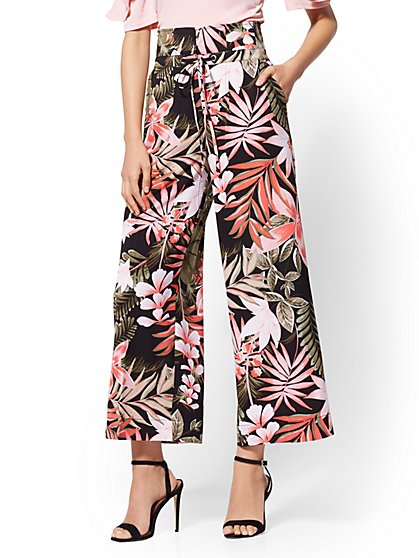 7th Avenue Pant - Floral Crop Palazzo - New York & Company