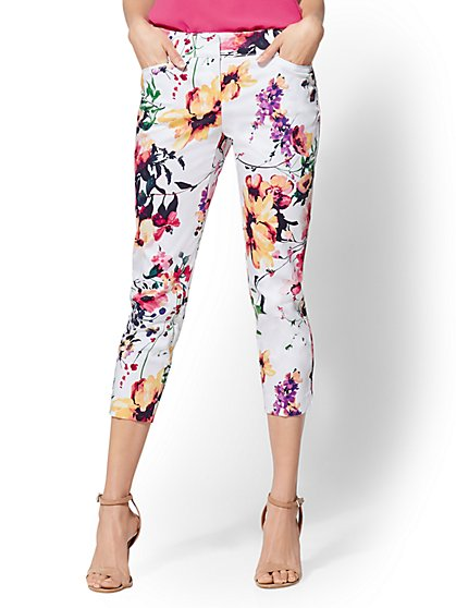 7th Avenue Pant - Floral Crop Straight Leg - Signature - New York & Company