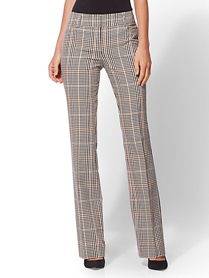 7th Avenue Pant - Gold Plaid Bootcut - Modern - New York & Company