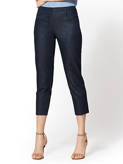 7th Avenue Pant - Hidden Blue Crop Straight Leg - Signature - New York & Company
