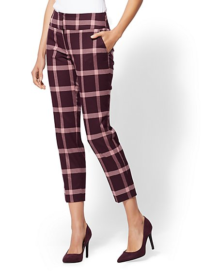 7th Avenue Pant - Maroon Plaid Slim Ankle - Modern - New York & Company
