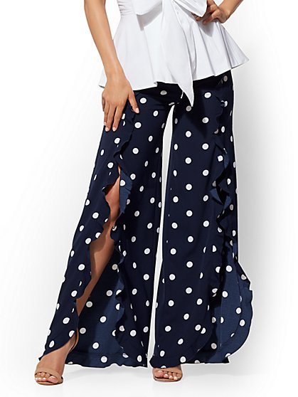 7th Avenue Pant - Navy Ruffled Palazzo - New York & Company