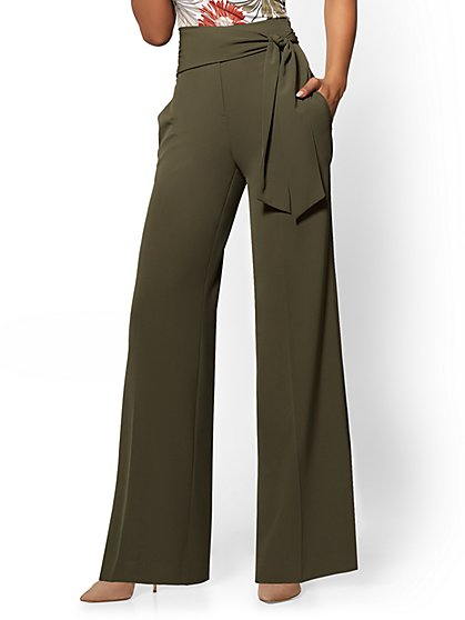 7th Avenue Pant - Olive Side-Tie Palazzo - New York & Company