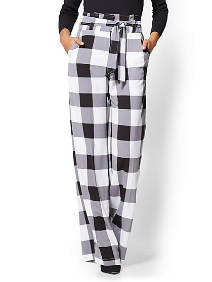 7th Avenue Pant - Paperbag-Waist Palazzo - Black & White Gingham - New York & Company
